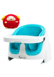 Ingenuity Baby Base 2-in-1 Booster Seat (Teal) + FOC Playgro Explor-a-Ball Learning Toy for Baby 4082426