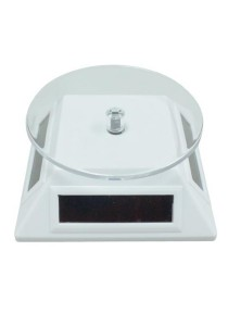 Solar Turntable Rotary Display Stand for Phone Camera Watch Diamond Jewelry (White)