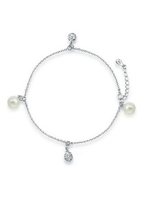Vivere Rosse Classy Pearl 925 Sterling Silver Anklet JA0005