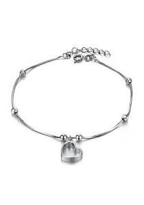 Vivere Rosse Floating Heart Anklet (Silver) JA0010