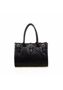 Fashion Checkerboard PU Leather Sling Tote Bag 319