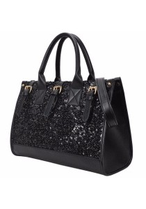 Fashion Large Capacity Shining Sequin PU Leather Handbag Tote Bag 328