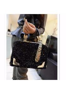 Fashion PU Leather Leopard Shinning Sequin Sling Bag Handbag Tote Bag 336
