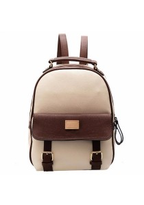 Korean Fashion Casual Mix Colour PU Leather Backpack 519