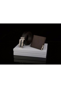 Dante Set of 2 Premium Leather Automatic Buckle Men's Belt + Wallet 881