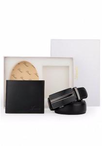 Dante Set of 2 Black Leather Automatic Buckle Men's Belt + Wallet 882