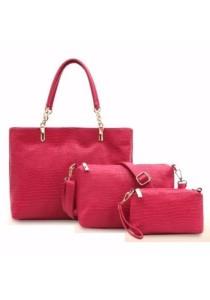 Loveena Set of 3 Artificial Crocodile Leather Purse Sling Bag Handbag Tote Bag 903