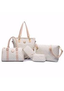 Loveena Set of 5 Artificial Leather Purse Sling Bag Handbag Tote Bag 907
