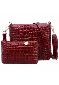 Set of 2 Artificial Crocodile Leather Purse Sling Bag 909