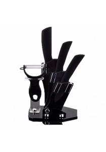 Ceramic Knife Blade Black Handle Set + Holder
