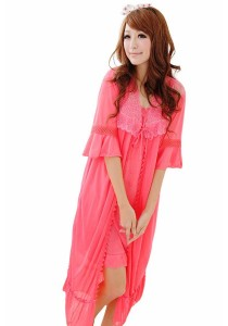 Loveena Ice Silk Robe Lace Pyjamas Nightwear P0308-SPI ( Sharp Pink)