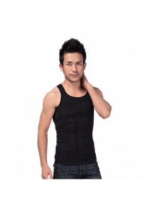 Mens Slimming Body Shaper Sports Gym Wear (Black)