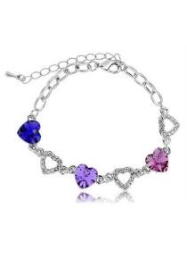 Vivere Rosse Lovely Hearts Swarovski Elements Bracelet (Violet) JB0025-V