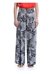 Floral Print Flared Pants (Gray)