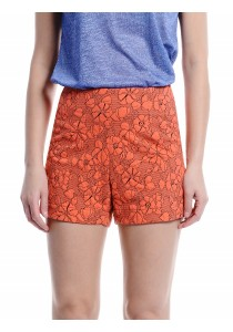 Floral High Waisted Shorts (Orange)