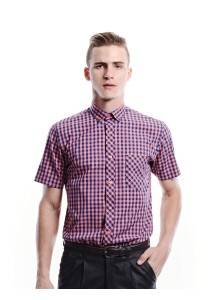 Gingham Short Sleeve Shirt (Orange)