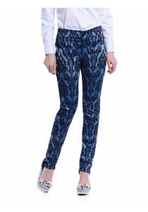 Jacquard Slim Fit Trousers (Dark Blue)