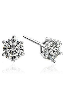 Vivere Rosse Classic Solitaire Platinum Plated Six Prong Stud Earrings (Silver) JE0001