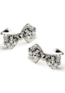 Vivere Rosse Bow Knot Platinum Plated Stud Earrings JE0002