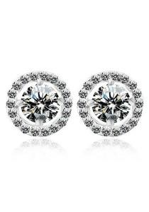 Vivere Rosse Sona Solitaire Diamond Simulant 925 Sterling Silver Stud Earrings JE0023-SS