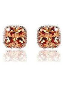 Vivere Rosse Champagne Gold Cubic Zirconia Stud Earrings JE0032