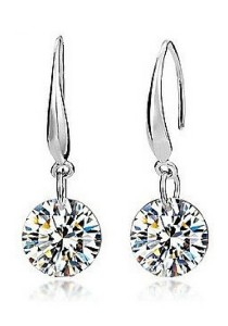 Vivere Rosse Classic Solitaire Platinum Plated Drop Earrings 2ct. (18K White Gold Plated) JE0039