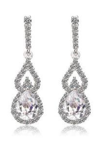Vivere Rosse Lorraine Teardrop Dangle Earrings (Silver) JE0044