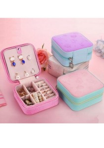 Jewellery Display Storage Box Portable Zip Type 3D Surface (Blue)