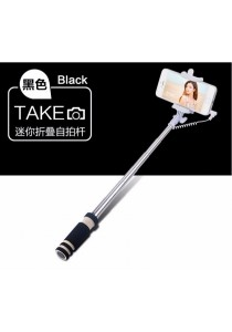 Mini Wired Color Selfie Stick with Notch and Build-in Shutter (Black)