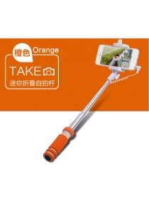 Mini Wired Color Selfie Stick with Notch and Build-in Shutter (Orange)