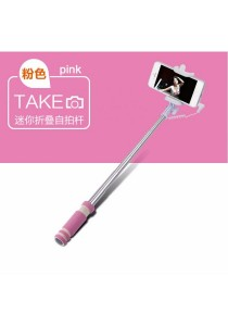 Mini Wired Color Selfie Stick with Notch and Build-in Shutter (Pink)