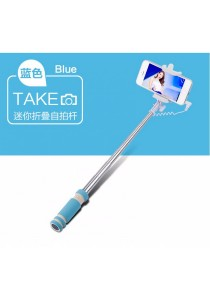 Mini Wired Color Selfie Stick with Notch and Build-in Shutter (Sky Blue)
