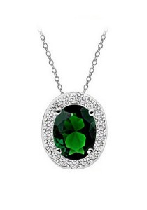 Vivere Rosse Oval Necklace (Green) JN0058-E
