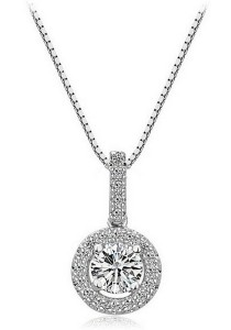Vivere Rosse Sparkling Solitaire 925 Sterling Silver Necklace (Silver) JN0059-SS