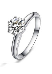 Vivere Rosse Oath Classic Six Prong Solitaire Ring (Platinum Plated) JR0003