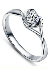 Vivere Rosse Delicate Heart 925 Sterling Silver Simulated Diamond Ring JR0011
