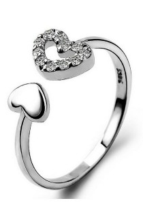 Vivere Rosse Two Hearts Ring (Silver) JR0027
