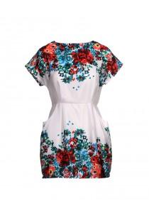 Floral Print Dress (White)