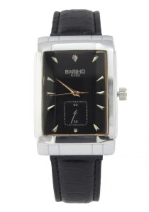 LadiesRoom Unisex Rectangular Quartz Leather Band Watch (Black)