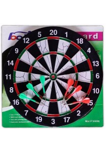 "Dual Side Tournament Dart Board 17"" x 1/2"" (Free 6 Darts)"
