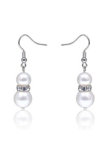 Kelvin Gems Basic Glam Eugenia SWAROVSKI Pearl Hook Earrings with SWAROVSKI Elements