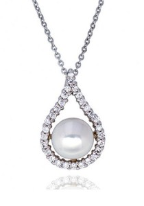 Kelvin Gems Classic Premium Abella Fresh Water Pearl Pendant Necklace with SWAROVSKI Zirconia