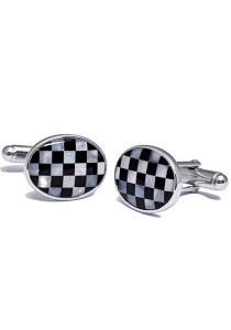Kelvin Gems Oval Checker Cufflink