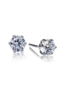 Kelvin Gems Premium 6 Prong Solitaire Stud Earrings with SWAROVSKI Zirconia