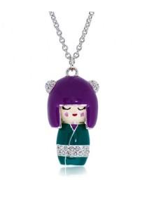 Kelvin Gems Purple Japan Kimi Doll SWAROVSKI Elements Pendant Necklace