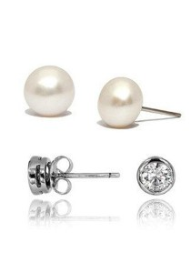 Kelvin Gems SWAROVSKI Zirconia & Classic Fresh Water Pearl Stud Earrings Gift