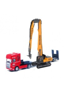 Affluent Town 1:64 Die-cast Scania Carrier Trailer and Mobile Crane Tractor demolition cutter Model Collection (Red)