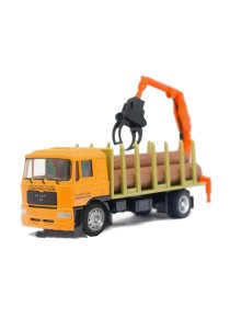 Affluent Town 1:64 Die-cast MAN Delivery piling Truck Tree wood holder Vehicle Model Collection (Yellow)