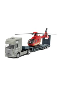 Affluent Town 1:64 Die-cast SCANIA Carrier Trailer And Helicopter (Grey)