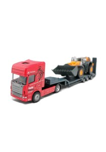 Affluent Town 1:64 Die-cast SCANIA Carrier Trailer and Large Bulldozer (Red)
